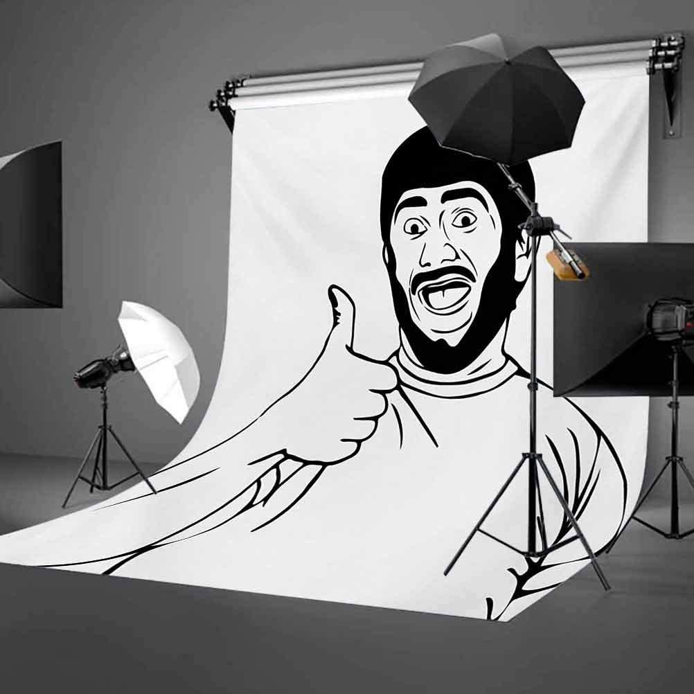 Humor 8x10 FT Backdrop Photographers,LOL Happy Guy with Thumbs Up Bodily Gesture Cool Sounds Good Style Graphic Print Background for Child Baby Shower Photo Vinyl Studio Prop Photobooth Photoshoot