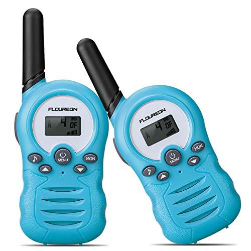 floureon Kids Walkie Talkies Two Way Radios 22 Channel 3000M (MAX 5000M Open Field) UHF Long Range Handheld Talkies Talky (Blue)