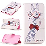 MOONCASE Galaxy A5 2017 Case, [Giraffe] Double Layer Shock Absorbing Premium Soft PU Leather Wallet Cover Flip Cases For Samsung Galaxy A5 2017