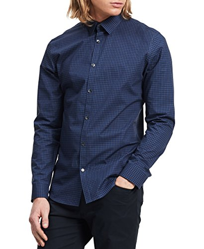 Calvin Klein Men's Slim Fit Check Long Sleeve Non-Iron Button Down Shirt, Knight Blue, X-Large]()