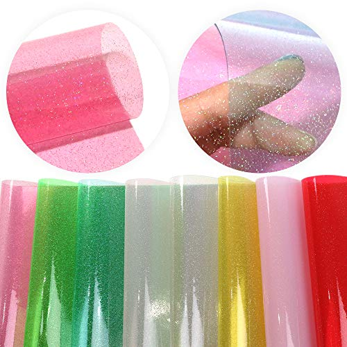 - David accessories Glitter Transparent Jelly Faux Leather Fabric Sheet Solid Color 8 Pcs 8 x 13