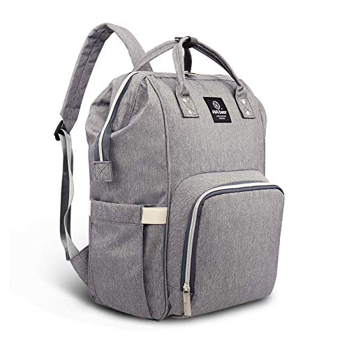 Pipi bear Diaper Bag Backpack Travel Large Spacious Tote Shoulder Bag Organizer (Linen Gray)