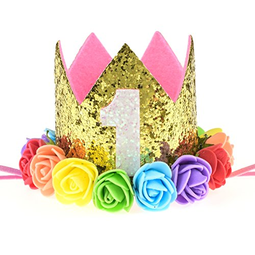 DreamLily Baby 1st Birthday Party Hat Gold Crown with Pink Hair Band BB03 (Rainbow Gold 1)