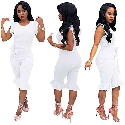 Petite Size Jumpers - Ekaliy Women Sexy Sleeveless Short Jumpsuits Rompers Clubwear White Large