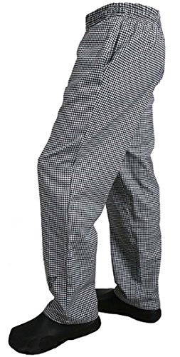 Solid Black Baggy Chef Pants (S.S Men's Baggy Chef Pant Solid Black. White. Black White Checks (Black White Checks, Large))