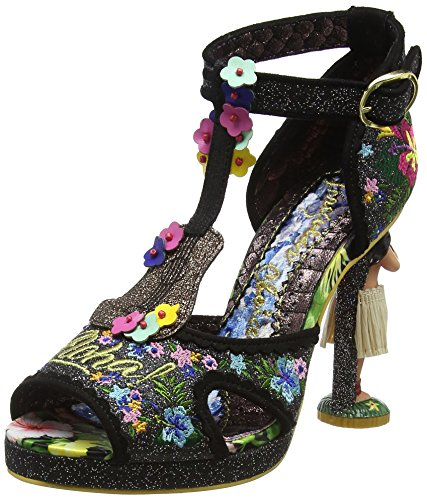 Irregular Choice Magical Maui, Sandali con Cinturino Alla Caviglia Donna Black (Black)