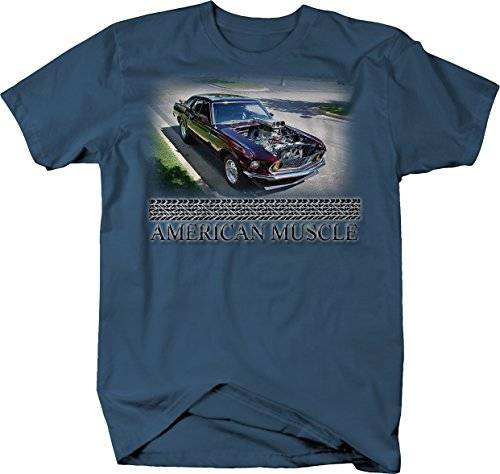 American Muscle Ford Mustang Fast Racing Blower Supercharger Tshirt - 2XL Denim -