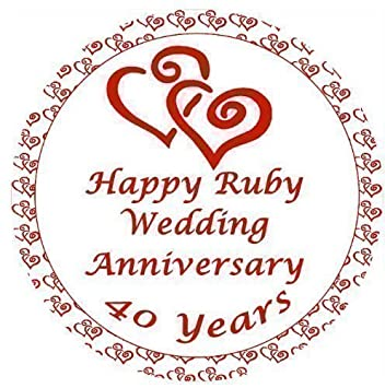 Ruby Wedding Anniversary Cake Topper Edible Sugar Icing 75 - Ruby Wedding Cake Toppers