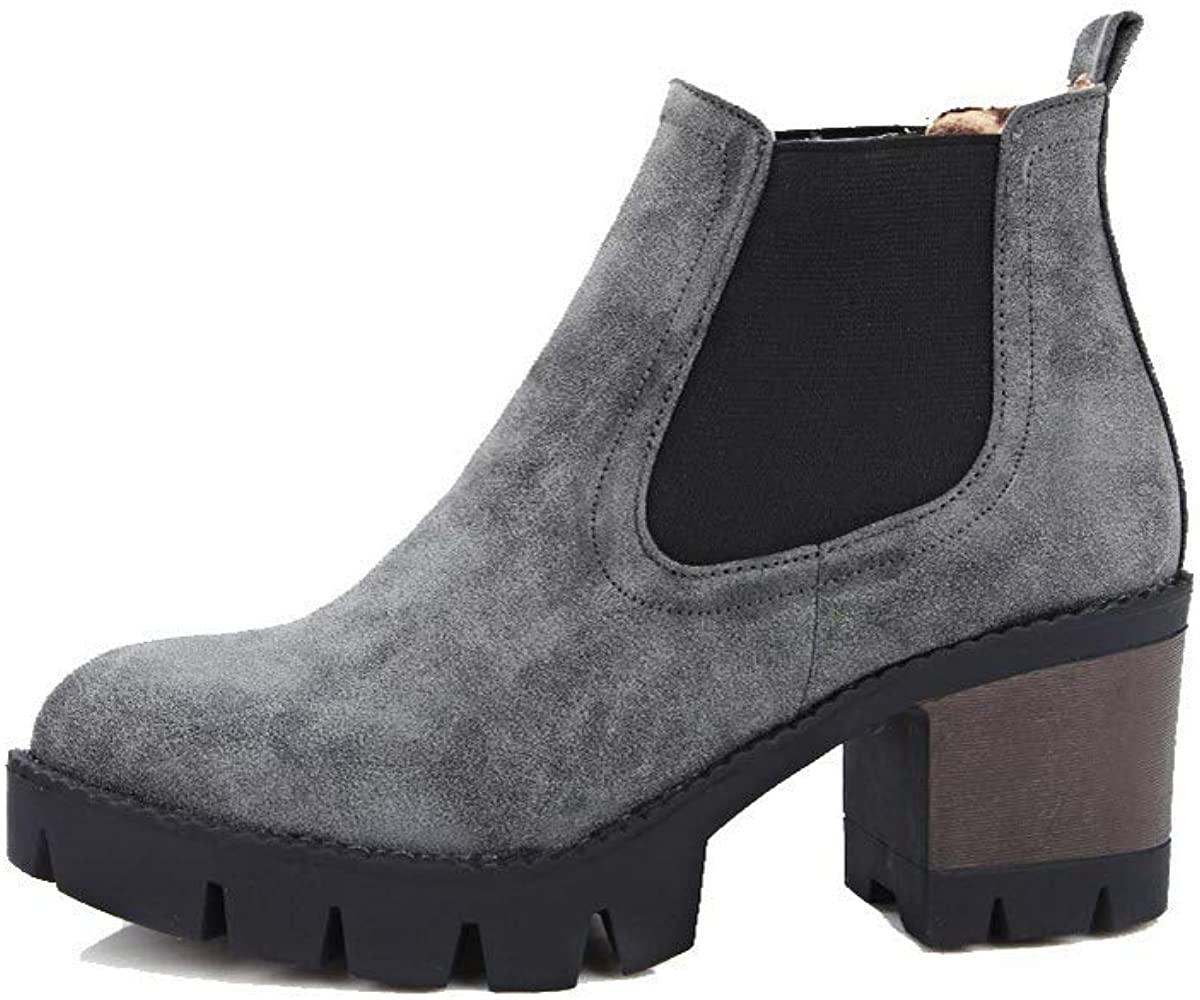WeenFashion Womens Kitten-Heels Pu Ankle-High Assorted Color Pull-On Boots AMGXX116296