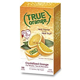 True citrus orange 100 count, red 1 authentic, fresh-squeezed taste without the seeds, mess or waste 1 packet = taste of 1 wedge simple, clean ingredients: no artificial flavors, preservatives & non-gmo