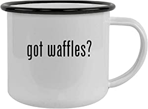 got waffles? - Sturdy 12oz Stainless Steel Camping Mug, Black