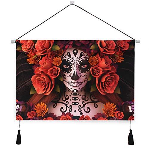 Shadimi Sugar Skull Roses Halloween Canvas Painting Hanging Poster Decor Wall Art Artwork 18x25in -
