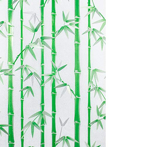 Wopeite Decorative Self-Adhesive Window Film Privacy Static Cling Reuse UV Blocking Heat Control No Glue Green Bamboo Pattern Glass Film Home Office 17.7 X 78.7 Inches ()