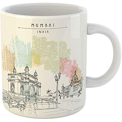 Coffee Tea Mug Gift 11 Oz Funny Ceramic Gateway of India and Taj Mahal Palace Hotel in Mumbai Bombay Famous British Gifts For Family Friends Coworkers Boss Mug