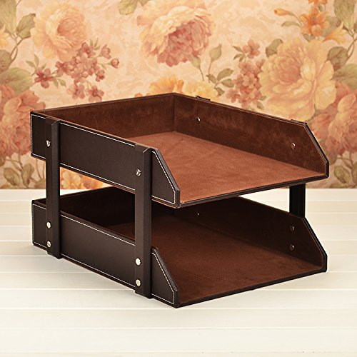 Figella Leather Office File Rack Document Filing Tray Case
