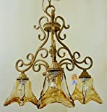 Golden Brulee Finish Scrolled Metal 3 Light Chandelier Mouth Blown Rustic Square Shaped Glass Lighting