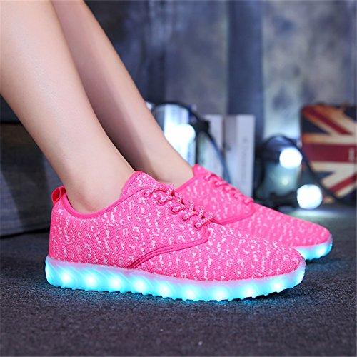 Kaleido Shinynight Usb Charge 11 Couleurs Led Allument Chaussures De Mode Baskets Chaussures De Sport Pour Hommes Femmes Filles Garçons F-rose
