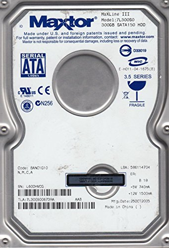 7L300S0, Code BANC1G10, NMCA, Maxtor 300GB SATA 3.5 Hard Drive