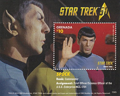 Star Trek 50th Anniversary - Spock - Collectible Postage Stamps Grenada