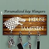 Key Hanger, Personalized Key Holder, Anniversary Gift, Housewarming Gift, game of thrones key holder,custom key rack,custom key holder,stark gift, stark key holder, key holder for wall