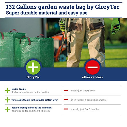 Glorytec 2-Pack Garden Bags - 132 Gallons Leaf Bag - Price-Performance Winner 2018 - Large Reusable Gardening Bagster with 4 Handles - Collapsible Lawn and Yard Waste Containers by Glorytec (Image #4)