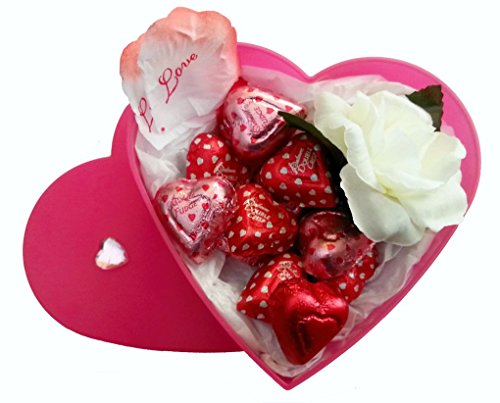 Valentines Day Heart Gift Box with Chocolate and a Rose for Her (Strawberry, SM)