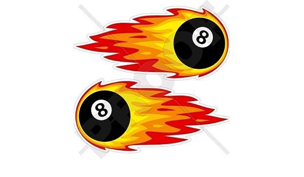 Pegatina de vinilo, diseño de bolas de billar en llamas con el número ocho, 180 mm, para parachoques, adhesivos x 2: Amazon.es: Jardín