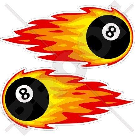 (FLAMING EIGHT BALL 8 Billiards Pool, Fireball Fire 7,1