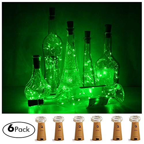 LoveNite Wine Bottle Lights with Cork, 6 Pack Battery Operated 15 LED Cork Shape Silver Wire Colorful Fairy Mini String Lights for DIY, Party, Decor, Christmas, Halloween,Wedding (Green)