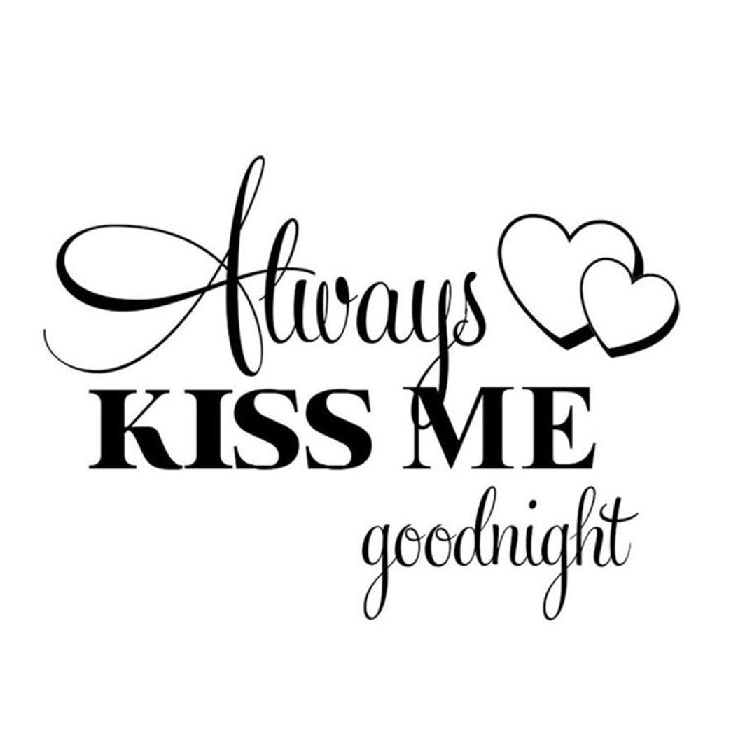 Woaills Home Wall Stickers, Always Kiss Me Goodnight Vinyl Decal Home Decor Quote Removable Wallpaper (22.44'' X 16.54'')