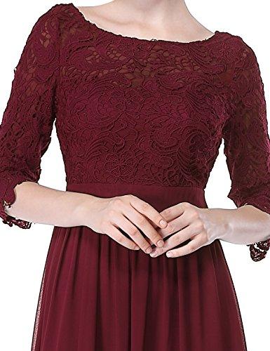 Lace 08412 4 Aermel Elegant Kleider Bordeaux 3 Abend Lang Ever Pretty Damen qwv1YIY