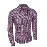 Blouse For Men,Clearance Sale-Farjing Men's Autumn And Winter Long-sleeved Plaid Self-Cultivation Shirt Top Blouse(XL,Purple )