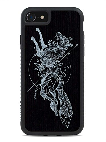 kerby-rosanes-geometric-fox-by-carved-apple-iphone-7-wood-traveler-case-black-protective-bumper-with