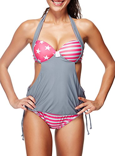 Zando Women Halter Tie Side Fashion Stripe Printed Tankini Athletic Two Piece Bikini Bottom Bathing Suits for Teens Cute Grey Pink Star XL (US Size 10-12)