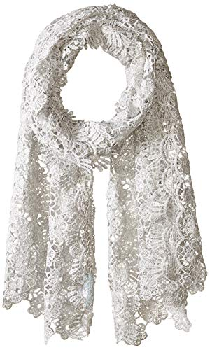 Betsey Johnson Women's Sequin Scallped Edge Crochet Evening Wrap, silver, one size