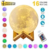 EVOLAND 3D Moon Lamp - 16 LED Colors, Dimmable, Rechargeable Night Light (Large, 5.9 inches) with Wooden Stand, Remote & Touch Control -Nursery Decor for Baby Kids, Christmas Thanksgiving Gift