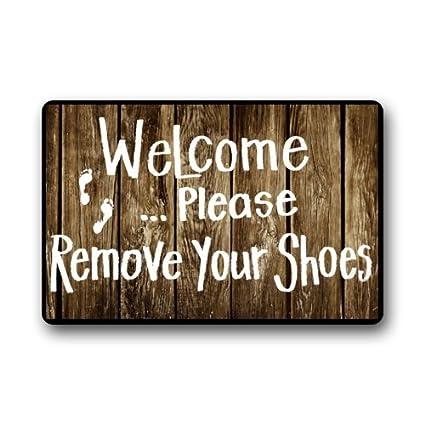 Front Door mats x 15.7 W L Custom Machine-Washable Door Mat Welcome Please Remove Your Shoes Indoor//Outdoor Decor Rug Doormat 23.6