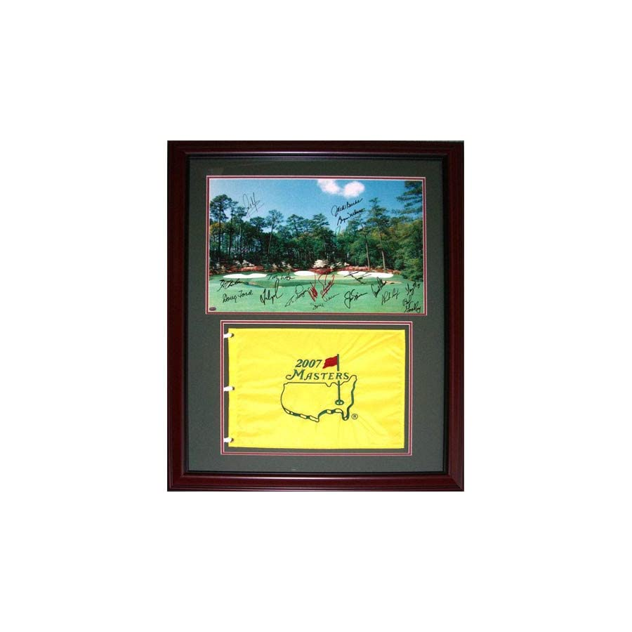 Masters Champions 20 Signatures Autographed Signed Auto Augusta National Print Deluxe Framed with Masters Flag Certified Authentic