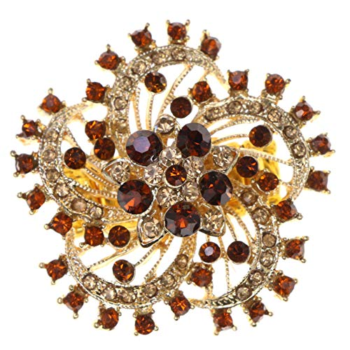 Mi Amore Flower Stretch-Ring with Crystal Accents Gold-Tone & Brown Colored #4526 from Mi Amore