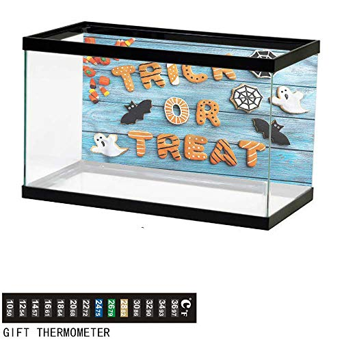 - bybyhome Fish Tank Backdrop Halloween,Gingerbread Cookies Table,Aquarium Background,24