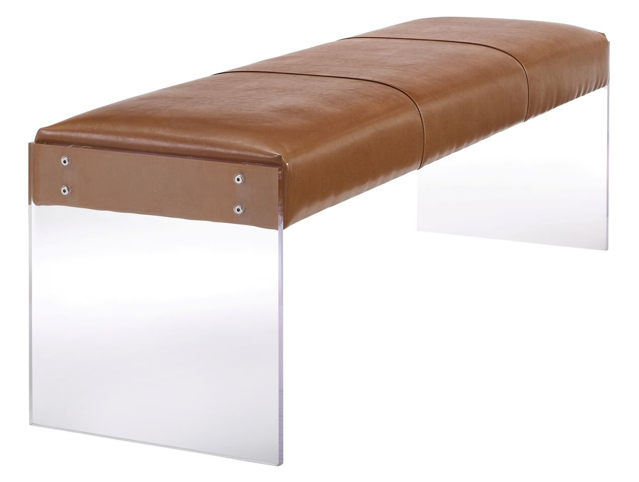 Tov Furniture Envy Leather/Acrylic Bench, Brown by Tov Furniture (Image #3)