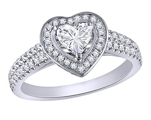 1 CT Heart Shaped Diamond Framed Double Row Heart Engagement Ring in 14K Gold