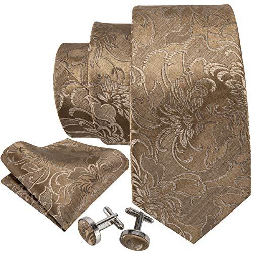 Barry.Wang Mens Solid Gold Necktie Woven Silk Tie hankerchief Cufflinks Set