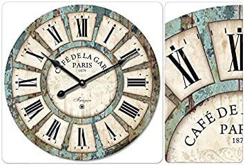 16, #03 Decoration Vintage Clock Dial Eruner France Paris Rural Tuscan Style 16-inch Wooden Wall Clock Roman Numerals Retro Decor Wall Art for Livingroom Office Cafe