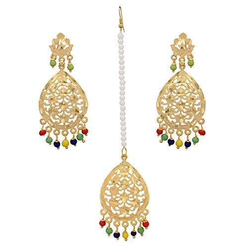 - Jwellmart Indian Bridal Wedding Collection Jadau Style Maang Tikka Earrings Set for Women and Girls (Multicolor)