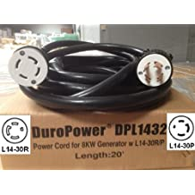 Generator Power Cord - L14-30 Extension Cord DPL1432 - 20 Foot, 30 Amps, 125/250V