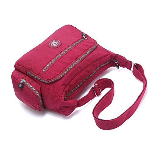 Travel Pocket Bag Water Burgundy Nylon Model Purse Shoulder Unisex BEKILOLE KL1144 Multi Bag Resistant Travel Crossbody xIPqw0