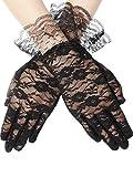 SATINIOR Ladies Lace Gloves Elegant Short Gloves Courtesy Summer Gloves for Wedding Dinner Parties (Black 2)