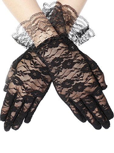 SATINIOR Ladies Lace Gloves Elegant Short Gloves Courtesy Summer Gloves for Wedding Dinner Parties (Black 2)