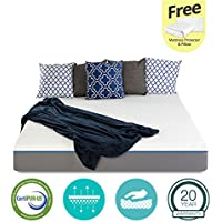 8 inch Cool & Gel Memory Foam Mattress - Certipur-US Certified - Medium Firm - 20-Year Warranty - Twin - with FREE Protector and Pillow